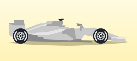 Gray racing bolid. Sports car. Quick transport. Powerful engine. Aerodynamic body. Side view, isolated on background. Vector illustration Illustration