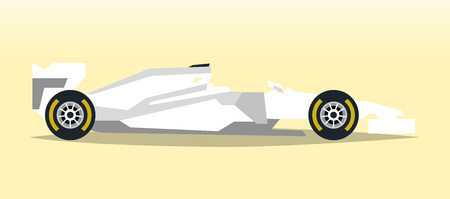 White racing bolid. Sports car. Quick transport. Powerful engine. Aerodynamic body. Side view, isolated on background. Vector illustration Illustration