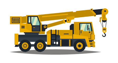 lifter: Truck crane. Yellow, isolated on white background. Construction machinery. Vector illustration. Flat style