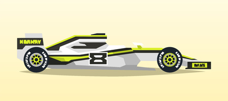formula one: A racing bolid. Sport car. Quick transport. Powerful engine. Aerodynamic body. Side view, isolated on background