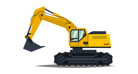 Yellow excavator. Isolated on white background. Special equipment. Construction machinery. Vector illustration. Stock Photo
