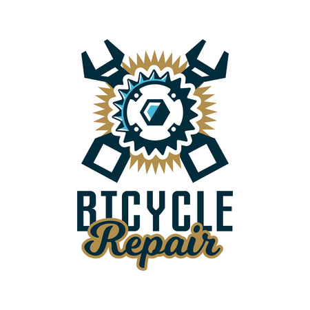 business graphics: Logo repair bicycles. A bicycle sprocket and wrench crosswise. Vector illustration. Flat style.