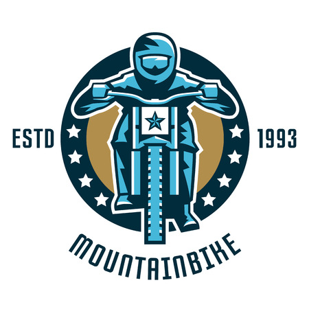 Logo mountain bike. A cyclist coming down the mountain. Extreme sport. Danger, downhill. Front view, helmet, goggles.