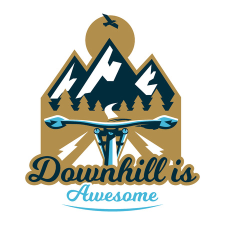 Logo mountain bike. First-person view. A trip out of town, forest, mountains, path, road.