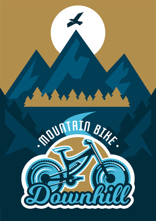 moutain climbing: Vector illustration on the theme of extreme sport and mountain biking. Landscape, forest, fresh air. The invitation to the event. Downhill