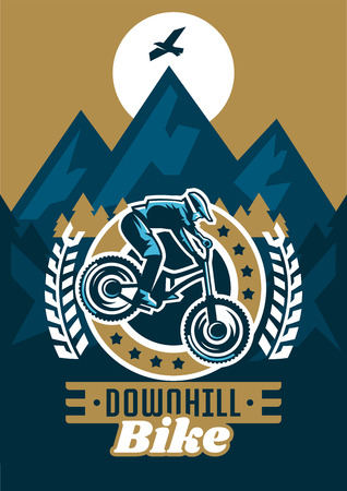 Vector illustration on the theme of extreme sport and mountain biking. Landscape, forest, fresh air. The invitation to the event.
