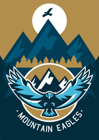 moutain climbing: Vector illustration on the theme of extreme sport and mountain biking. Landscape, forest, fresh air.