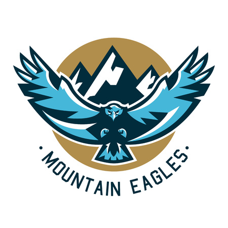 Logo eagle. Hawk flying in the mountains. Wild animal, large wingspan. Vector illustration. Flat style.