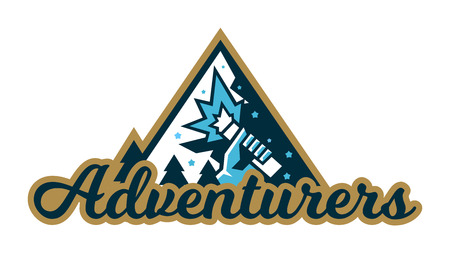 Adventure logo. Mountain landscape, forest. Hand holding a signal fire. Vector illustration. Flat style. Çizim