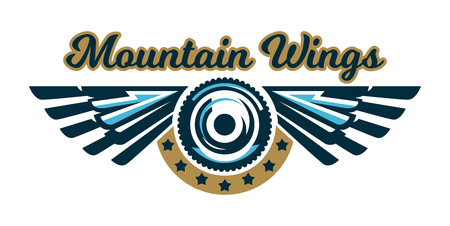 The logo of a bicycle wheel and wings. Mount, eagle, feathers, angel. Vector illustration. Flat style.
