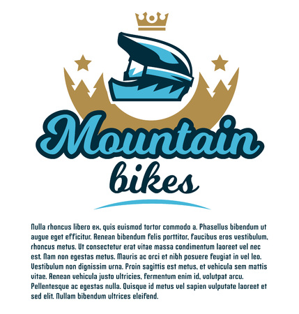 Invitation to participate in downhill mountain biking. Extreme sport. The emblem of the bicycle helmet. Template for text. Vector illustration. Flat style.