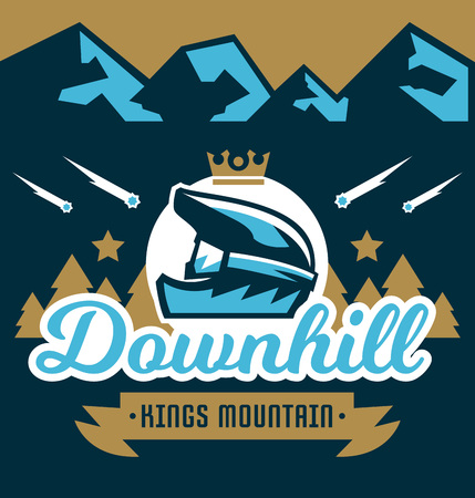 moutain climbing: A Vector illustration on the theme of extreme sport and mountain biking. Landscape, forest, fresh air. The invitation to the event. Crown, a bicycle helmet, goggles. Downhill, outdoor