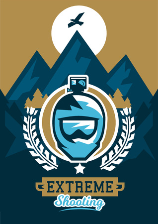 moutain climbing: Vector illustration on the theme of extreme sport and mountain biking.