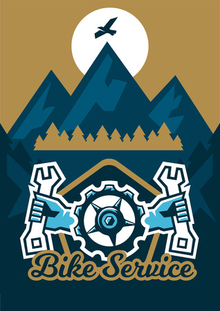peaks: Vector illustration on the theme of extreme sport and mountain biking.