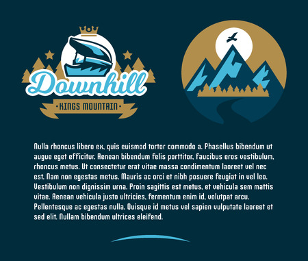 moutain climbing: Invitation card for an event associated with a trip on a mountain bike. Illustration