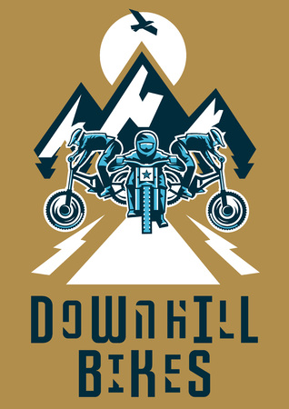 moutain: Vector illustration on the theme of extreme sport and mountain biking. Landscape, forest, fresh air.