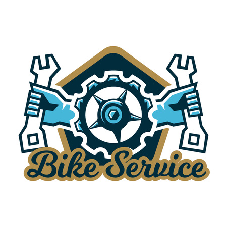 Logo bike service. A bicycle sprocket and hand holding a wrench on the sides. Repair, Tune mountain bike.