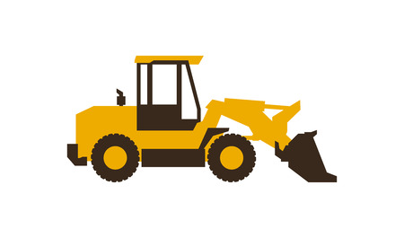 Icon front loader. Construction machinery. Vector illustration. Sleek style. Illustration