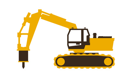 Icon excavator with his hammer. Construction machinery. Vector illustration. Sleek style. Çizim