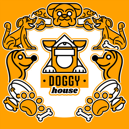 Vector illustration on the theme of dogs. Logo, isolated elements. Collar, dog s head, a trace of foot, for a bowl of food. Flat style, line art Illustration