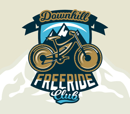 Logo mountain bike. The emblem of the bicycle and the mountains. Extreme sport. Freeride, downhill, cross-country. Badges shield, lettering. Vector illustration. Vettoriali
