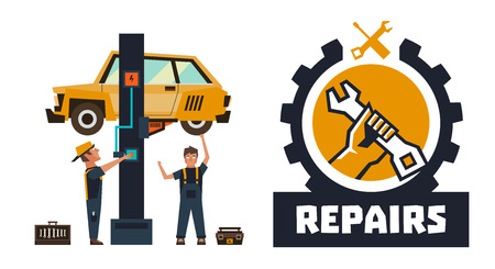 Horizontal banner template on car repairs. Repair logo, hand holding a wrench. The car on a lift. Auto mechanic inspects the undercarriage of the car. Vector illustration. Flat style