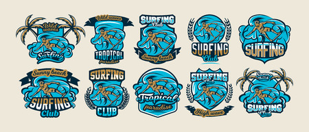 A collection of colorful logos, emblems, labels surfer drifts on the waves, stylish lettering. Beach, waves, palm trees, tropical island. Extreme sport. Badges shield. Vector illustration. Illustration