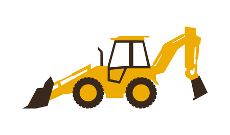 Icon backhoe loader. Construction machinery. Vector illustration. Sleek style. 向量圖像