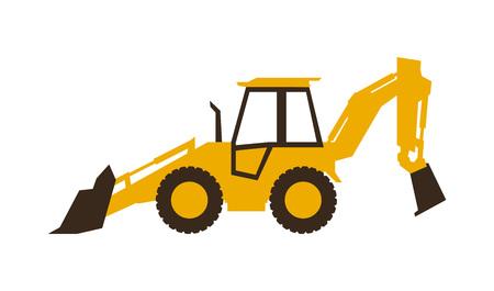 Icon backhoe loader. Construction machinery. Vector illustration. Sleek style. Illustration