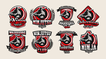 Set of colorful logos, emblems, ninja holding a katana in hand, a variety of fonts, isolated vector illustration. Logo