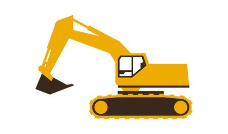 Excavator icon. Vector illustration. Sleek style.