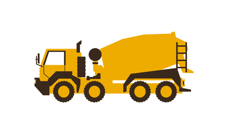 Icon Concrete Mixer. Construction machinery. Vector illustration. Sleek style. Illustration