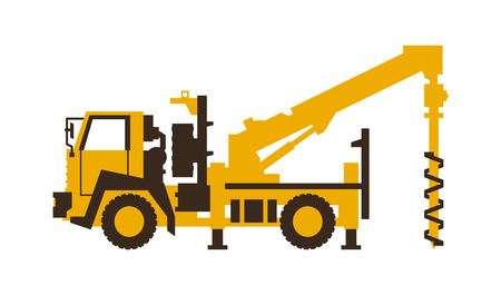 Icon drilling truck. Construction machinery. Vector illustration. Sleek style.