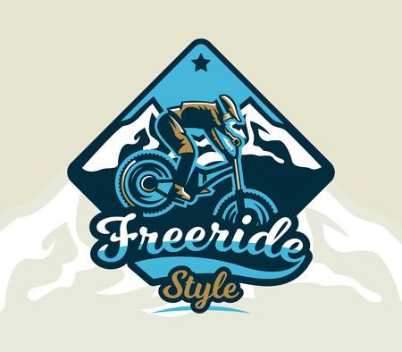 Het kleurrijke embleem, embleem, etiket, clubruiters voert trucs op een bergfiets op een achtergrond van bergen uit, geïsoleerde vectorillustratie. Club afdaling, freeride. Afdrukken op T-shirts.