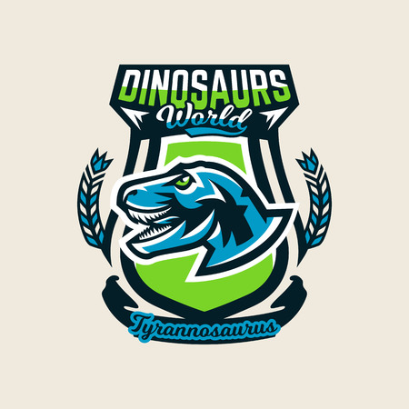 Colourful emblem, logo, label the dinosaur of the Jurassic period of the Mesozoic era is isolated on a background of the shield. Vector illustration. Illustration