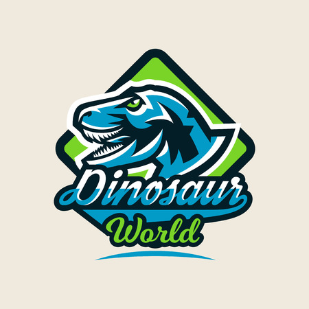 Colourful emblem, logo, label the dinosaur of the Jurassic period of the Mesozoic era is isolated on a background of the shield. Vector illustration. Logó