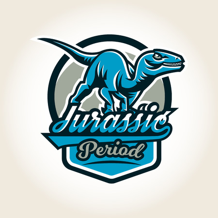 raptor: Colourful emblem, logo, label the world of the dinosaurs of the Jurassic period of the Mesozoic era is isolated on a background of the shield. Vector illustration, printing for t-shirts