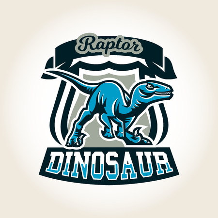 mesozoic: Colourful emblem, logo, label the world of the dinosaurs of the Jurassic period of the Mesozoic era is isolated on a background of the shield. Vector illustration, printing for t-shirts