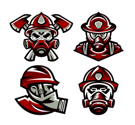 Set of colorful logos Fire Department, fireman, skull, mask firefighter, axes, isolated vector illustration. Sports style, printing on T-shirts 일러스트