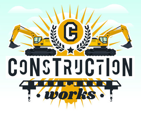 Illustration on the theme of the construction works. Construction machinery. Special equipment. Lettering on the isolated background.