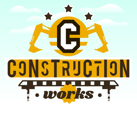 Illustration on the theme of the construction works. Construction machinery. Special equipment. Lettering on the isolated background. Logo special equipment, hydraulic arm. Excavator, crane