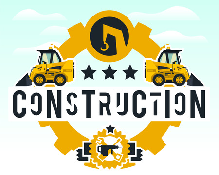 Illustration on the theme of the construction works. Construction machinery. Special equipment. Lettering on the isolated background. Mini loader. Logo working tools. Flat style. Illustration