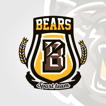 Colorful logo, emblem, letter the scratched claw angry bear, grizzly. Vector illustration, dynamic and sporty style, printing on T-shirts.