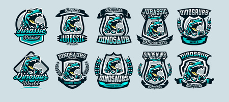 Set, a collection of colorful emblems, logos, dangerous raptor ready to attack, the sharp claws of a predator dinosaur Jurassic. Vector illustration, sporty and dynamic style, printing on T-shirts.