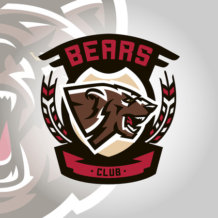 Colourful emblem, logo, snarling and ready to attack bear, grizzly, dangerous predator, the dweller forest. Vector illustration, dynamic and sporty style, printing on T-shirts. Illustration