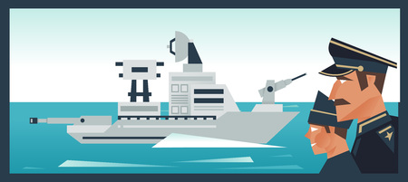 The destroyer in the ocean, a military boat. Admiral looks at the fleet. Vector illustration. Flat style