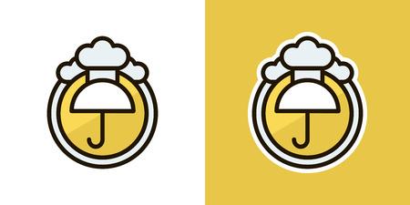 gamp: Umbrella and rain logo, icon, sign. Isolated on an orange background. Logo theme of autumn. Illustration
