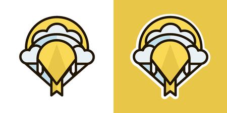Kite logo, icon, sign. Isolated on an orange background. Logo theme of autumn