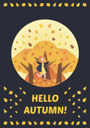 Hello, Autumn Vector illustration colorful story. Fall of the leaves. Girl walking in the park, around the trees. For the diary, postcards, calendars, typographical printing.