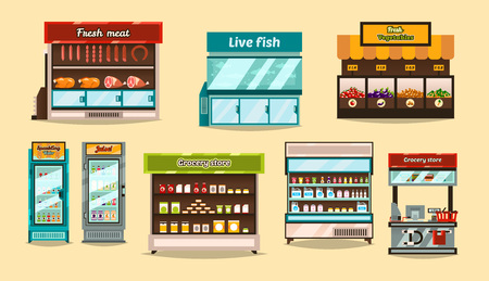 Set displays, supermarket refrigerators. Storefronts with shelf. Demonstration of goods, food. Sections, shelves, shop interior, glass containers. Fruits, vegetables, meat, fish, drinks, juices, shelf
